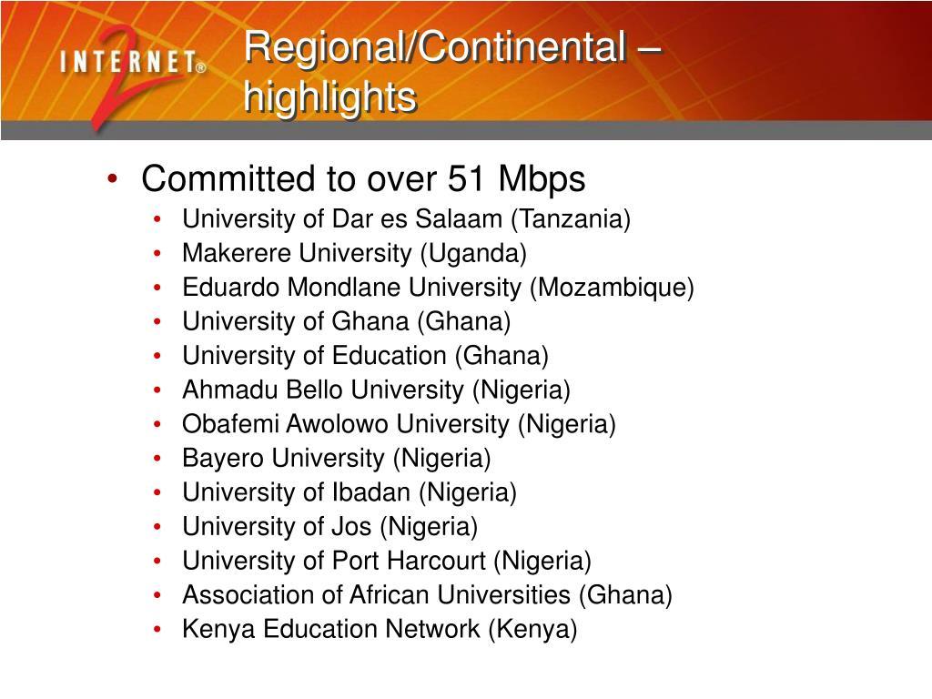 Regional/Continental –