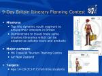 9 day britain itinerary planning contest