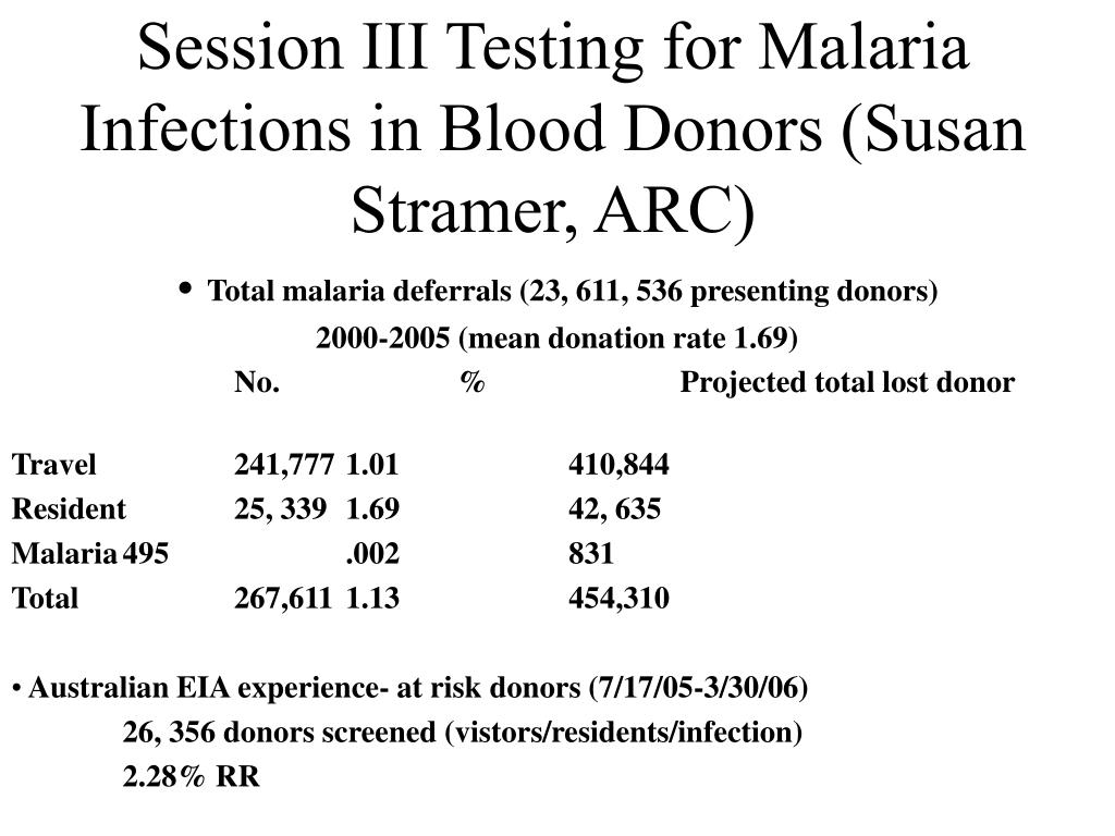 Session III Testing for Malaria Infections in Blood Donors (Susan Stramer, ARC)