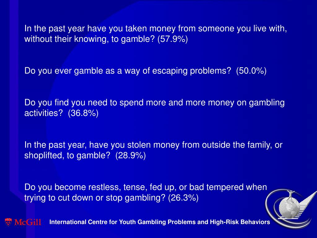 In the past year have you taken money from someone you live with, without their knowing, to gamble? (57.9%)