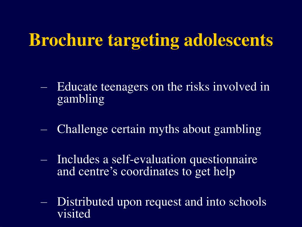 Brochure targeting adolescents