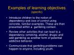 examples of learning objectives specific