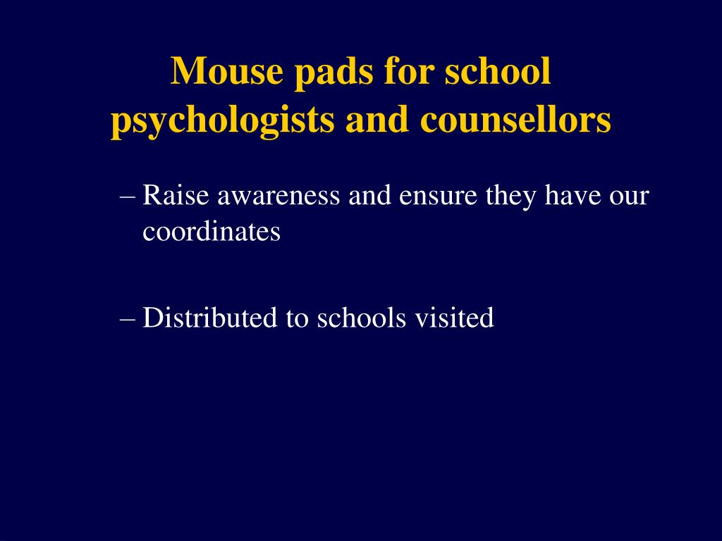 Mouse pads for school psychologists and counsellors