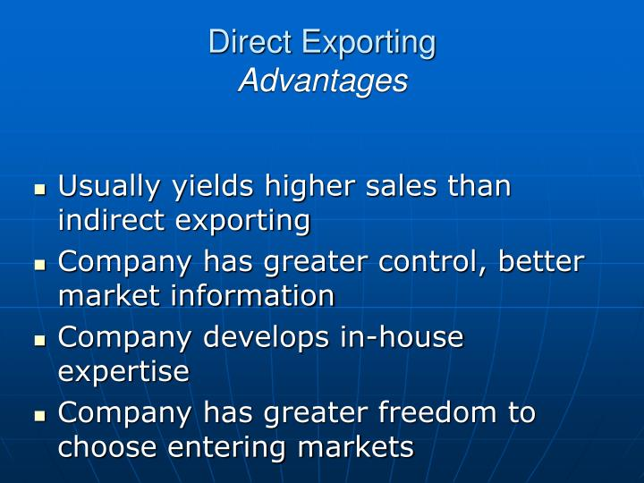 direct export and indirect export