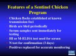 features of a sentinel chicken program