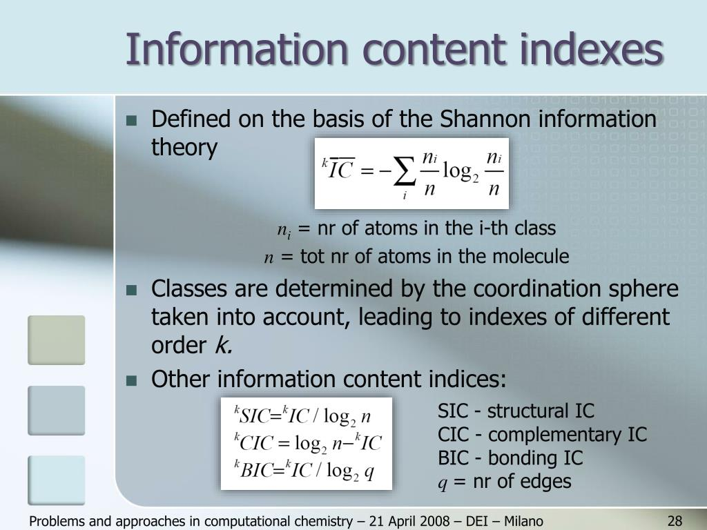 Information content indexes