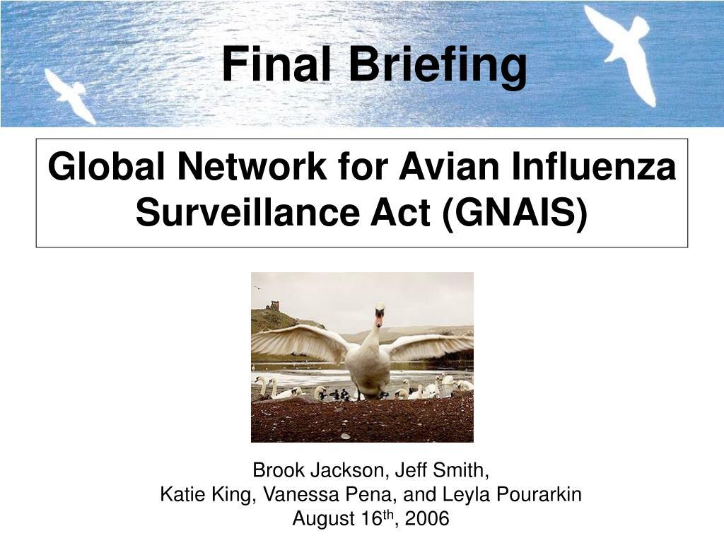 global network for avian influenza surveillance act gnais l.