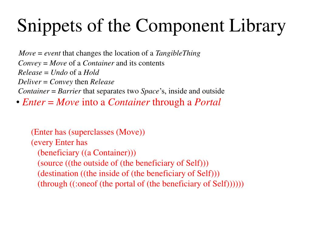 Snippets of the Component Library