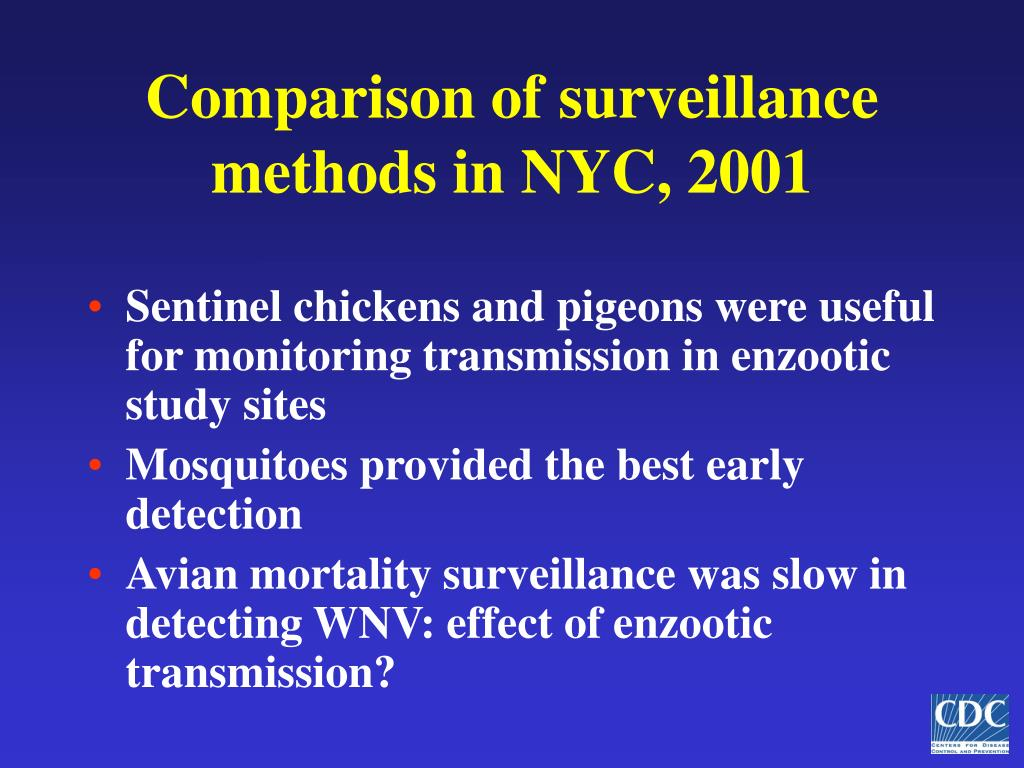Comparison of surveillance methods in NYC, 2001
