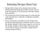 initiating design start up