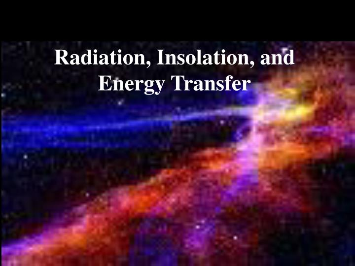 radiation insolation and energy transfer n.