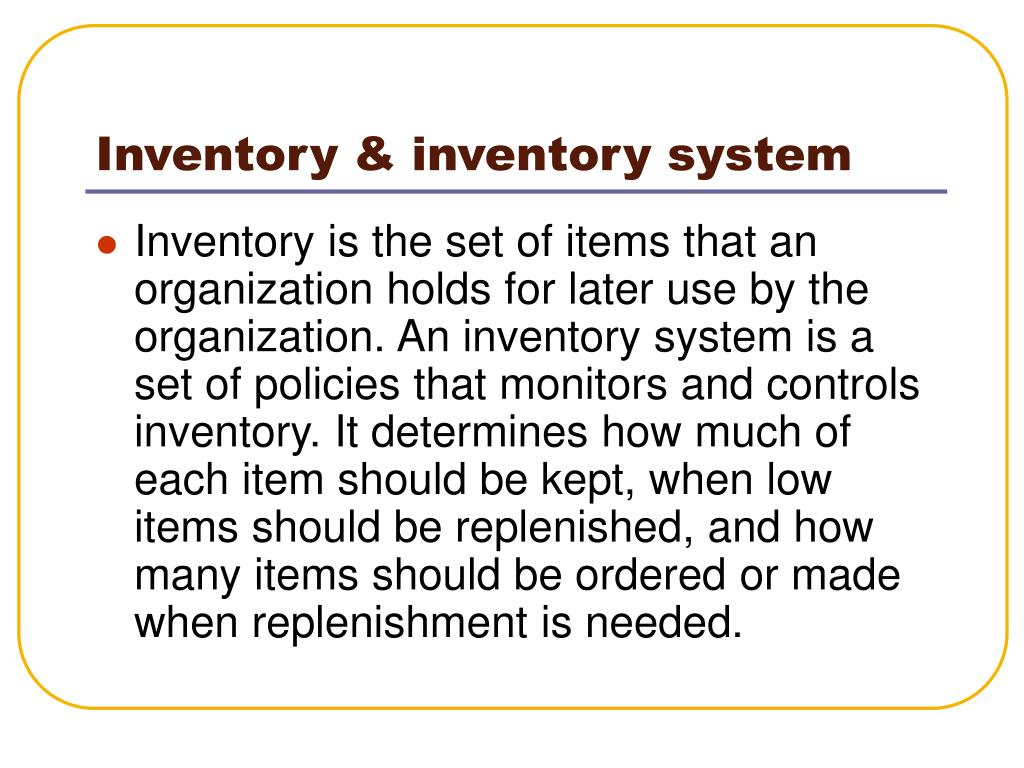 Inventory & inventory system
