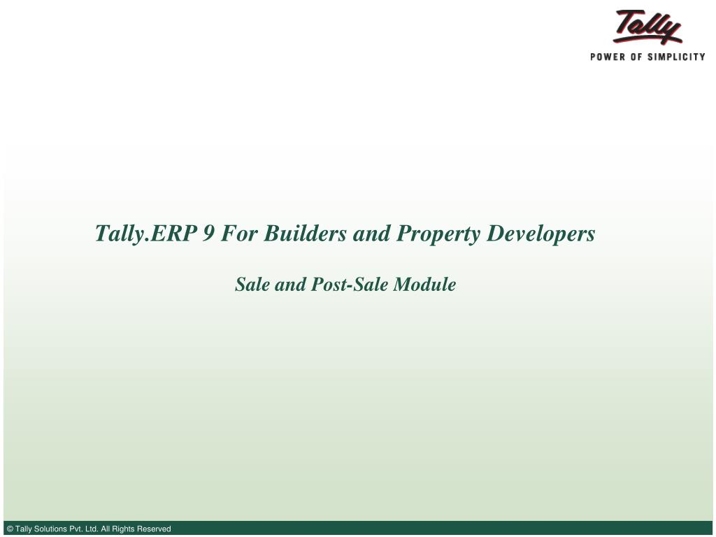 tally erp 9 for builders and property developers l.