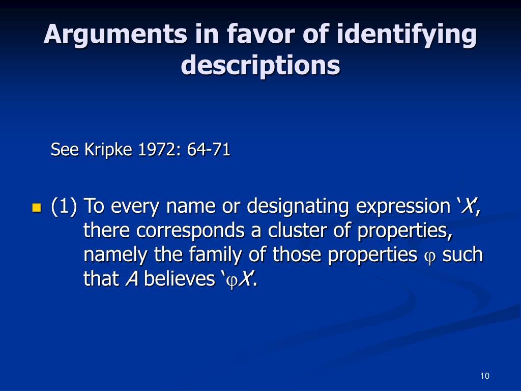 Arguments in favor of identifying descriptions