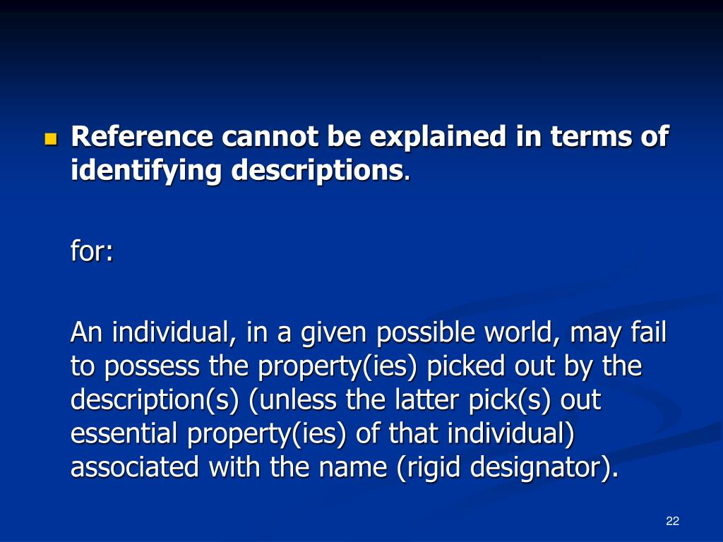 Reference cannot be explained in terms of identifying descriptions
