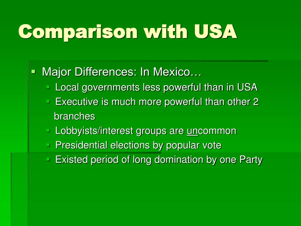 Comparison with USA