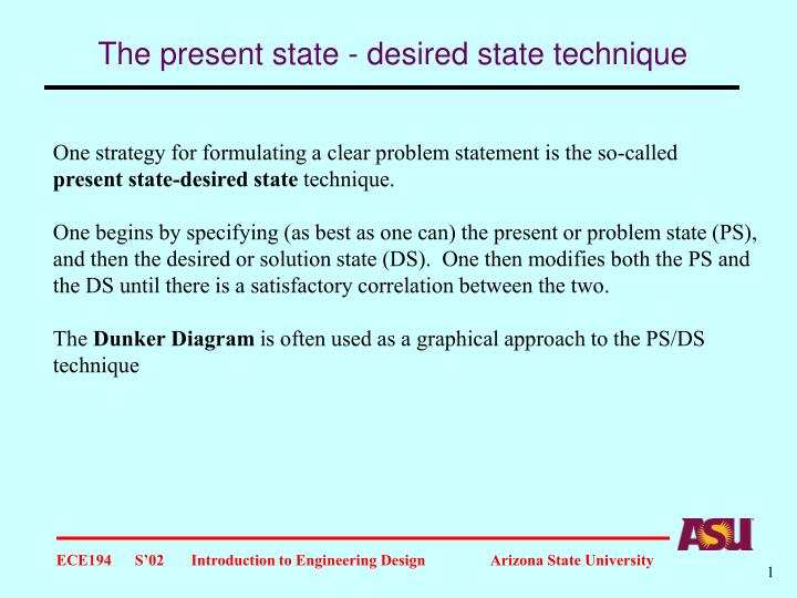 the present state desired state technique n.