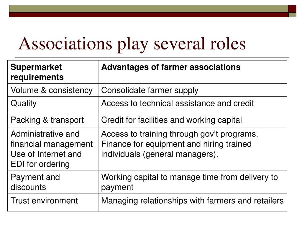 Associations play several roles