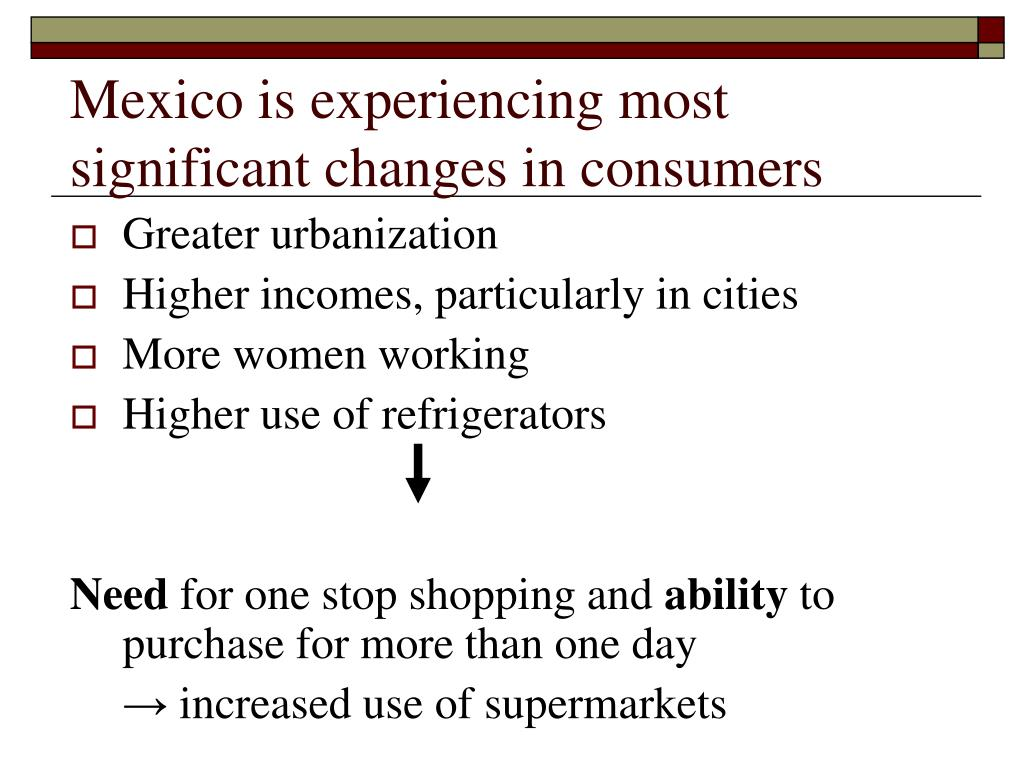 Mexico is experiencing most significant changes in consumers