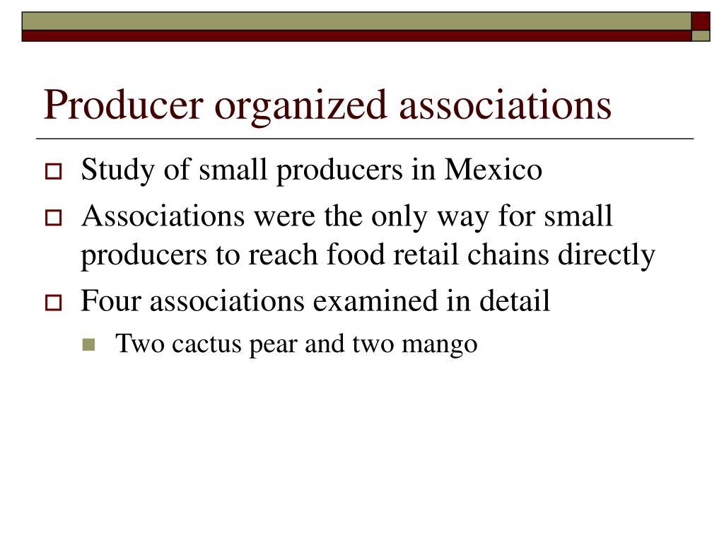 Producer organized associations