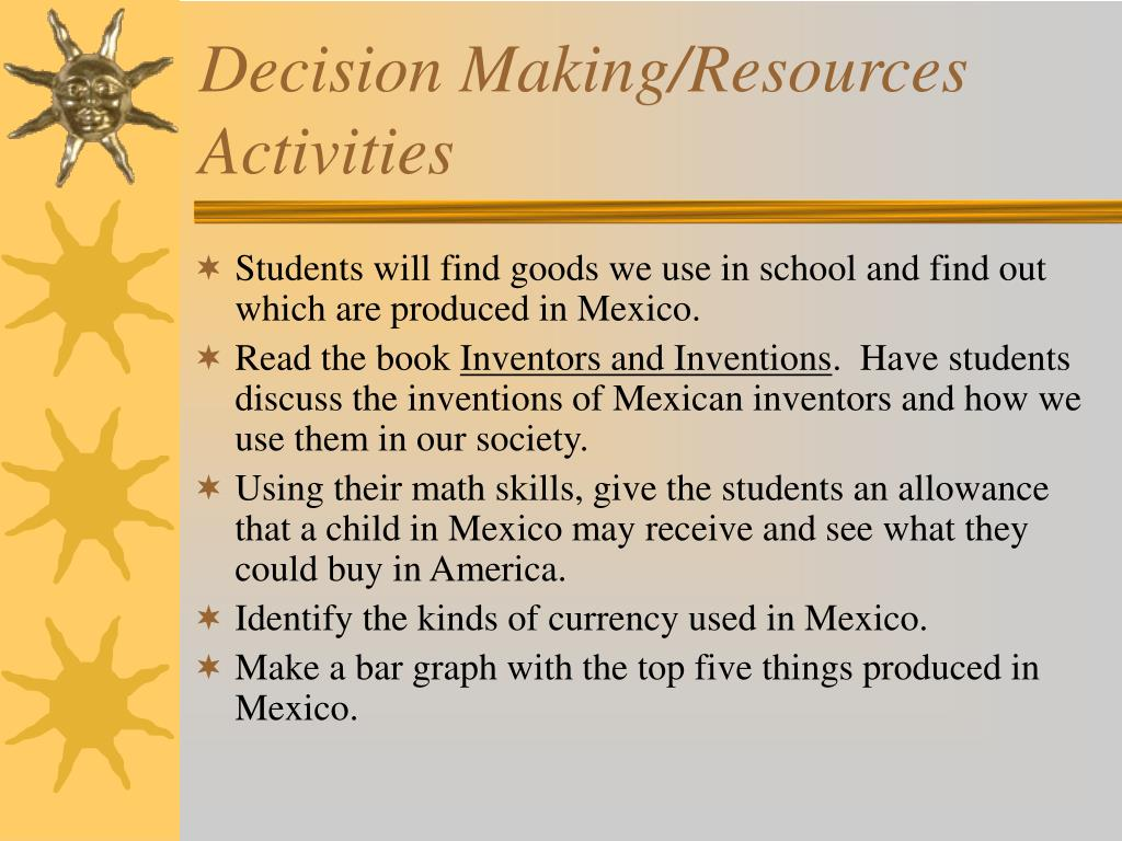 Decision Making/Resources Activities