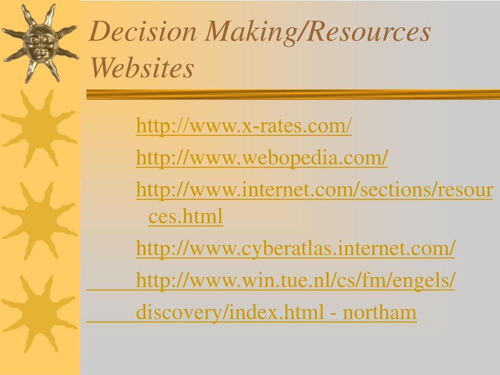 Decision Making/Resources Websites