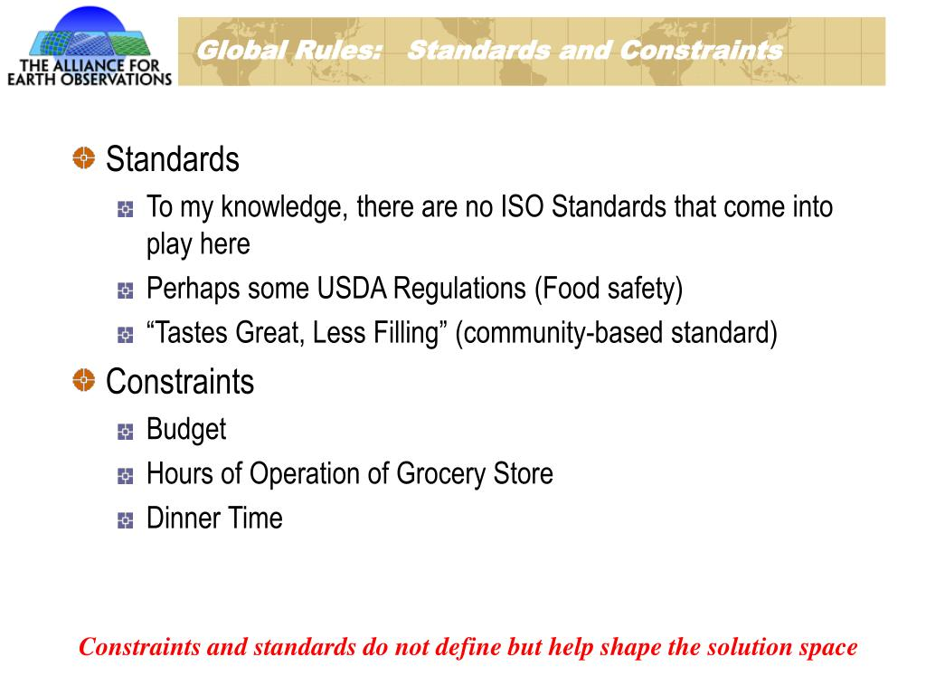 Global Rules:   Standards and Constraints
