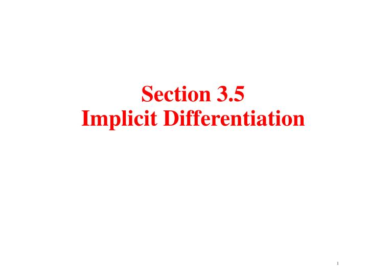 Section 3 5 implicit differentiation