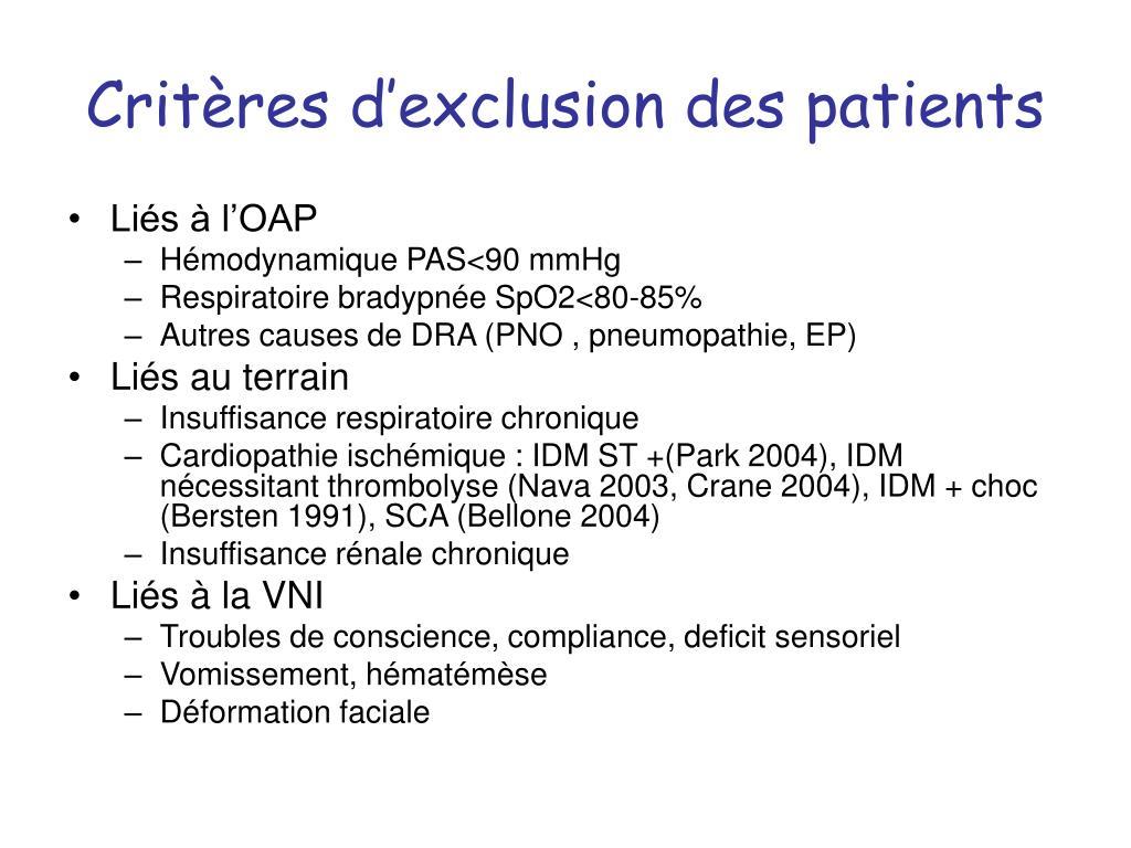 Critères d'exclusion des patients