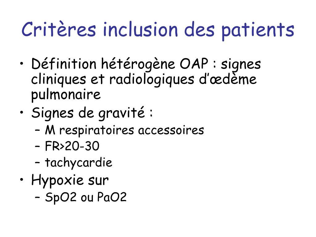 Critères inclusion des patients
