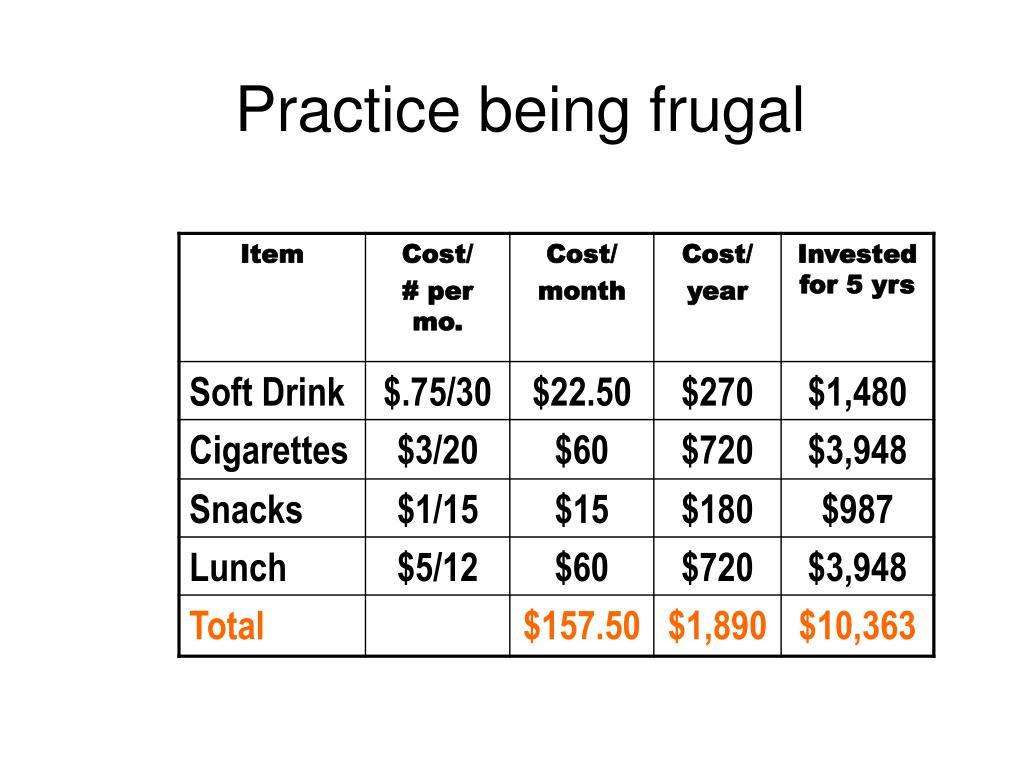 Practice being frugal