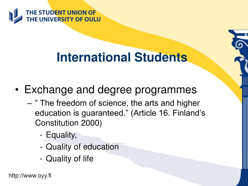 Exchange and degree programmes