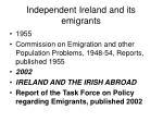 independent ireland and its emigrants