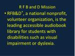 r f b and d mission