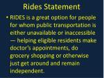 rides statement
