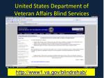 united states department of veteran affairs blind services