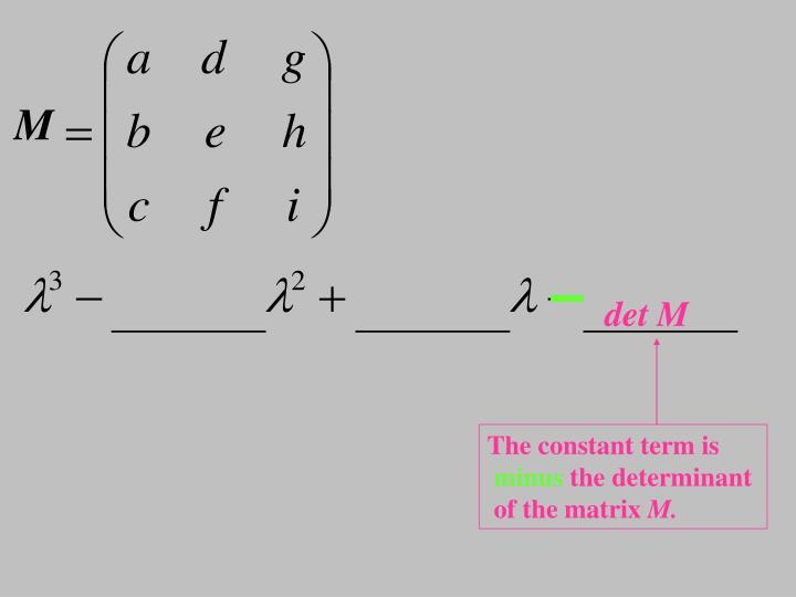 Characteristic polynomial for a 3x3 matrix