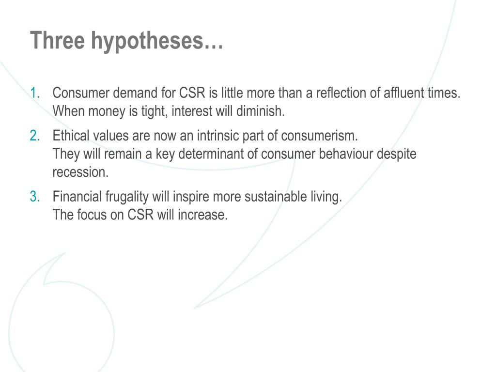 Three hypotheses…