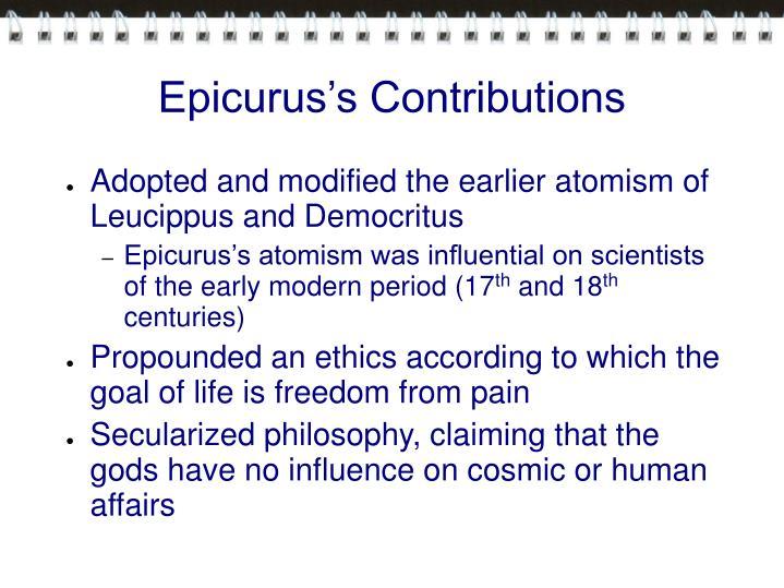 Epicurus s contributions