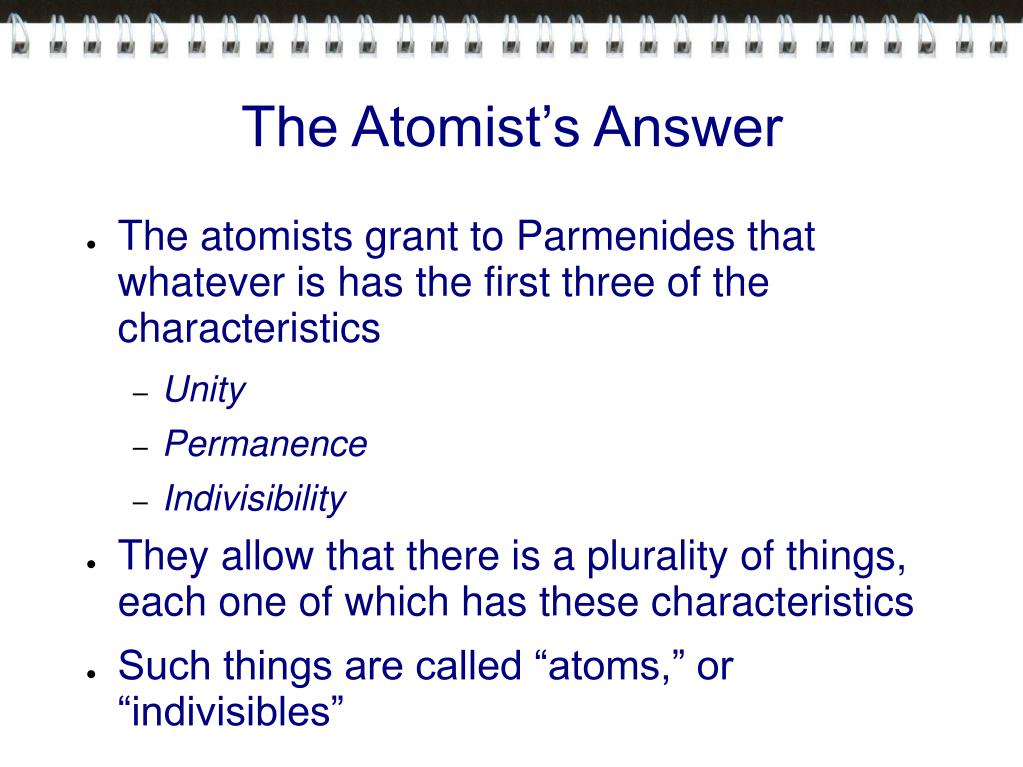 The Atomist's Answer