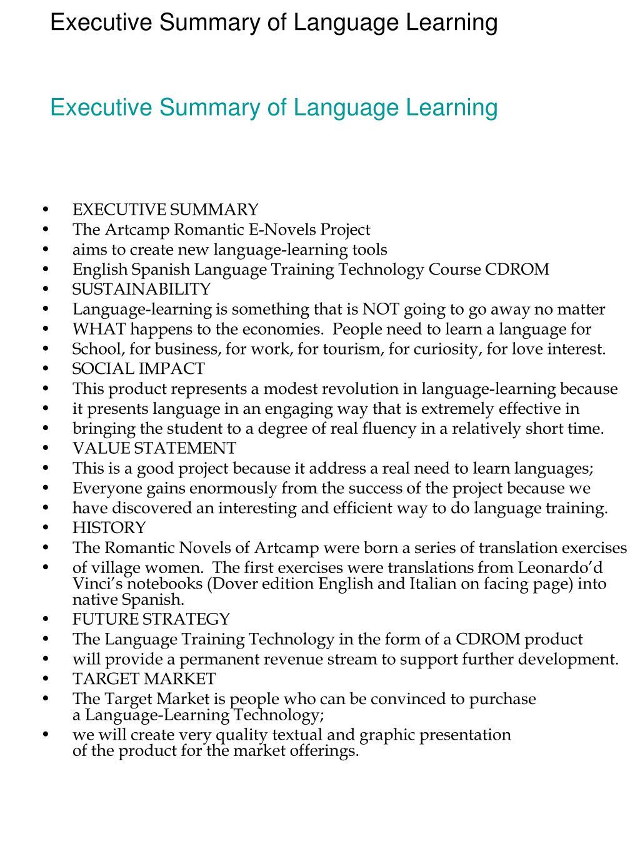 Executive Summary of Language Learning