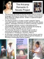 the artcamp romantic e novels project