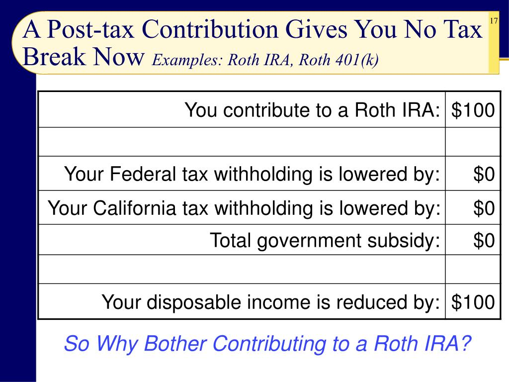 A Post-tax Contribution Gives You No Tax Break Now