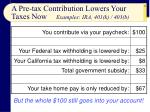 a pre tax contribution lowers your taxes now examples ira 401 k 403 b