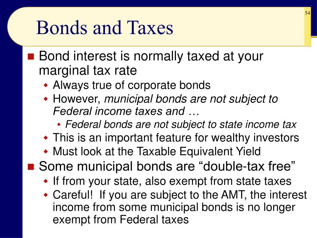 Bonds and Taxes