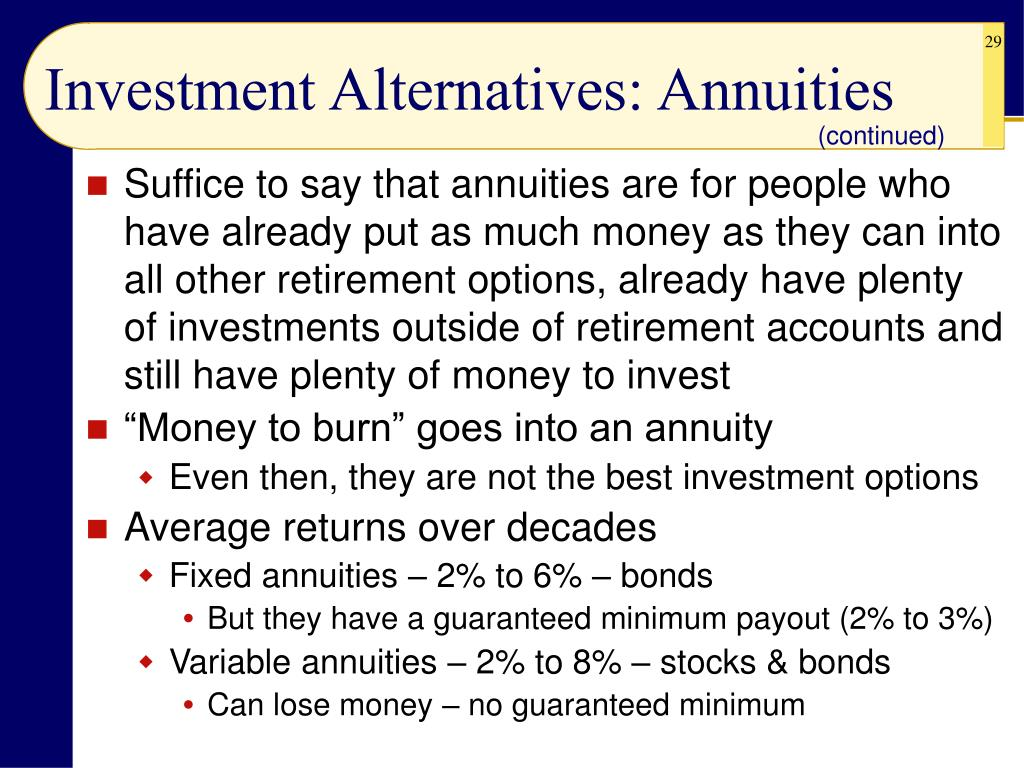 Investment Alternatives: Annuities