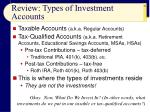 review types of investment accounts
