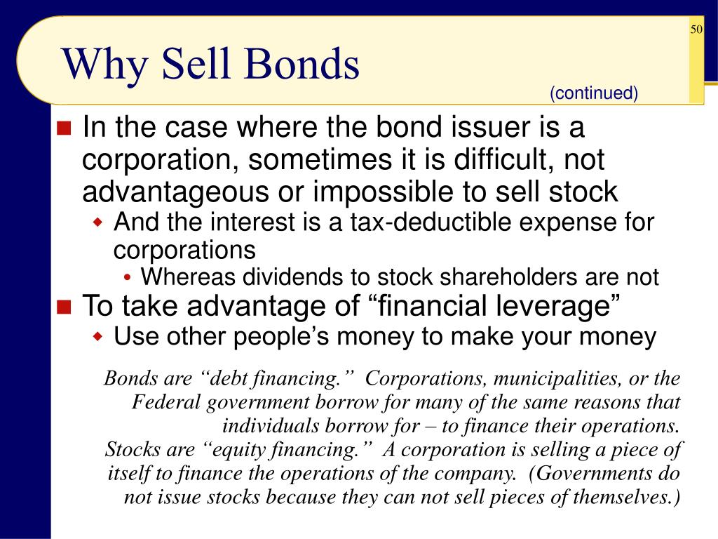 Why Sell Bonds