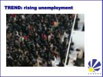 trend rising unemployment