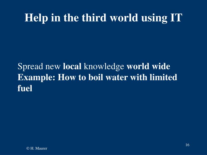 Help in the third world using IT
